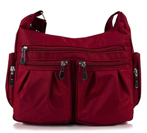 Scarleton Multi Pocket Shoulder Bag H140720 - Burgundy