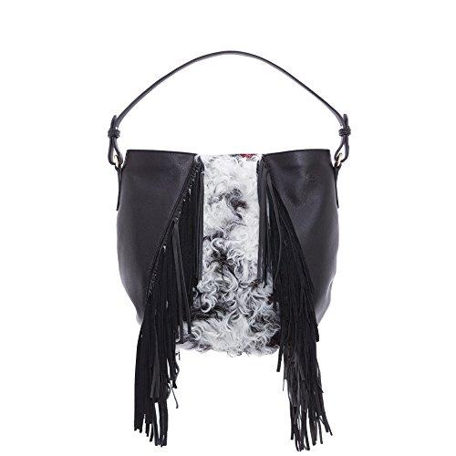 Kokomorocco Hobo Bag Women Cowhide Leather Fringed Hair Sheep And Black And White