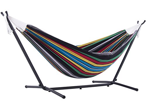 Vivere Double Hammock with Space-Saving Steel Stand, Rio Night by Vivere