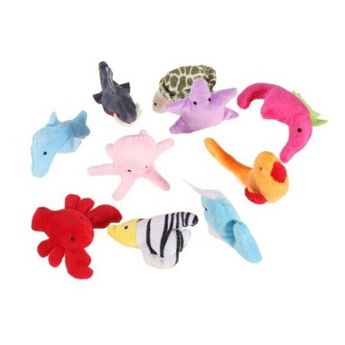 10Pcs Ocean Sea Animal Finger Puppets Cloth Doll Baby Kids Educational Hand Toy
