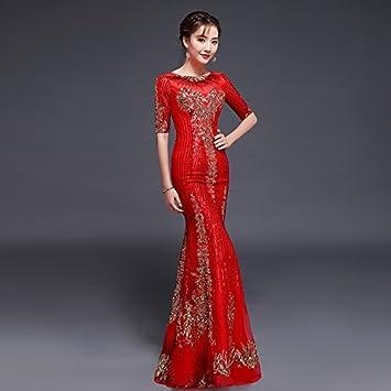 JKJHAH Vestidos De Noche Vestidos De Novia Rojo Vestidos De Cola De Pez Vestidos De Fiesta