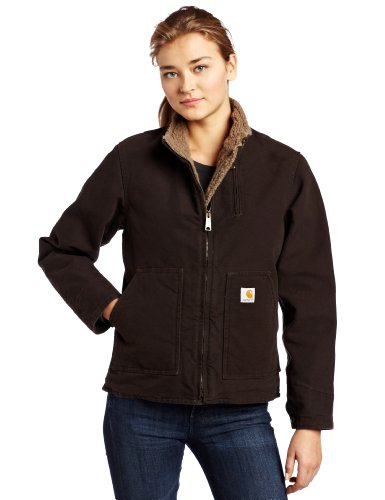 Carhartt Women's Sherpa Lined Sandstone Canyon Jacket Zip Front,Dark Brown (Closeout),Small