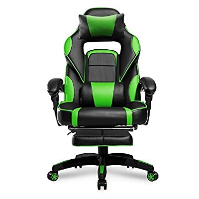 Merax High-Back Racing Home Office Chair, Ergonomic Gaming Chair with Footrest, PU Leather Swivel Computer Home Office Chair including Headrest and Lumbar Support (green) by Merax