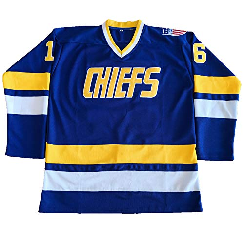 Hanson Brothers Charlestown Chiefs 16 Jack 17 Steve 18 Jeff Slap Shot Movie  Hockey Jersey Blue 4b1094cf5