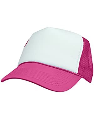 Two Tone Trucker Hat Summer Mesh Cap with Adjustable Snapback Strap