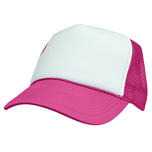 DALIX Two Tone Trucker Hat Summer Mesh Cap with Adjustable Snapback Strap (Hot Pink)