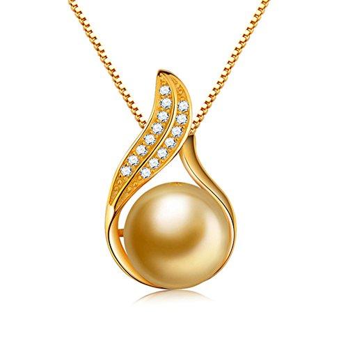 (Rakumi Sterling Silver 10mm Golden Sea Shell Pearl Pendant Necklace 18