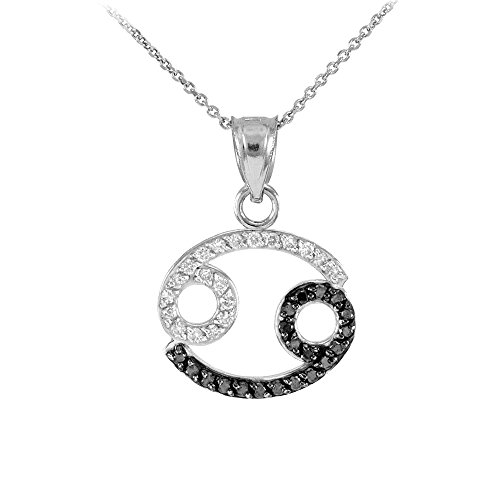 Collier Femme Pendentif 14 Ct Or Blanc Cancer Zodiaque Signe Black Diamant (Livré avec une 45cm Chaîne)