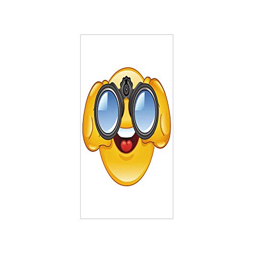 Translucent Binoculars - Decorative Privacy Window Film/Smiley Face with a Telescope Binoculars Glasses Watching Outside Cartoon Print/No-Glue Self Static Cling for Home Bedroom Bathroom Kitchen Office Decor Yellow and Blue