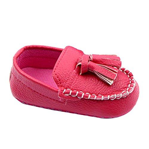 Ochine Bebe Ninos Guisantes Unico Suave Casual Zapatos Cuero Cuna Rojo+Rosa