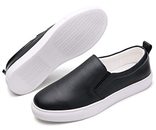 Leather Slip on Shoes for Ladies Black Fashion Walking Loafers Nurse Breathable Comfort Workout Office Casual Oxford Shoes Size 7 (505-Black-38) ()