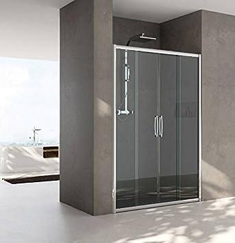 Mampara de ducha con nicho cristal satinado de 160 cm, diseño de ...