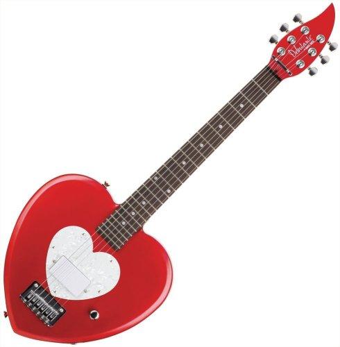 Daisy Rock Debutante Heartbreaker Short Scale Red Hot Red Electric Guitar (Heart Guitar Shaped)