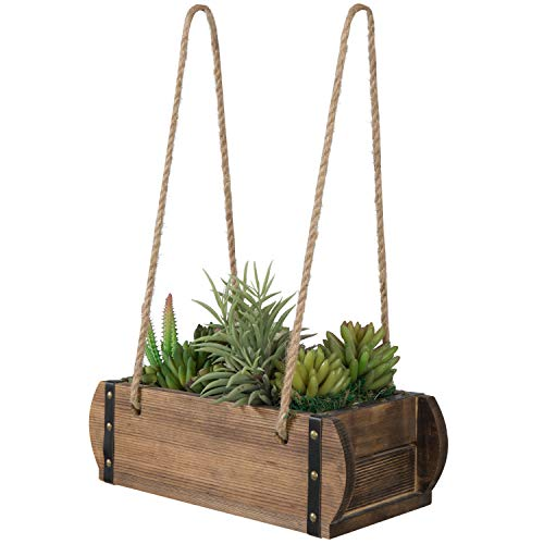 MyGift Burnt Wood Hanging Planter Pot Holder with Rustic Rope and Studded Accent