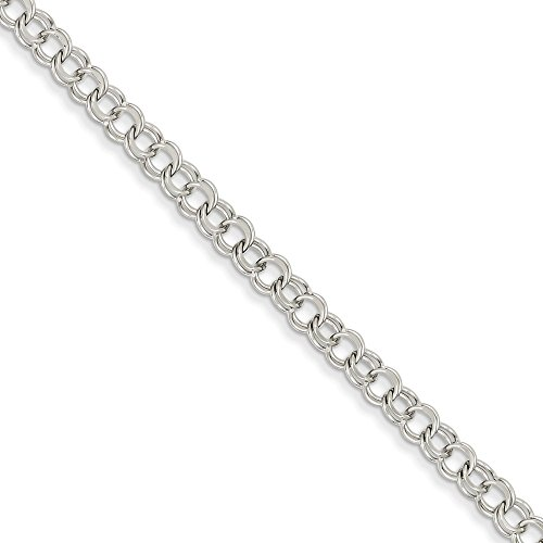 Top 10 Jewelry Gift 14k White Gold Double Link Charm Bracelet by Jewelry Brothers Bracelets