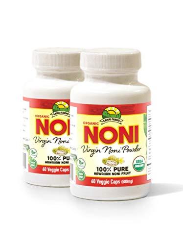 Virgin Noni Powder – 100 Pure Noni Powder Capsules, Certified Organic – Pack of 2 Bottles