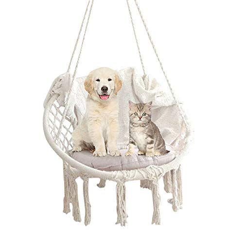 Knitted Macrame Swing Hammock Chair – Hanging Cotton Rope Macrame Hammock Swing Chair – 265 Pound Capacity – Additional Cushion Benefit (Beige) Review