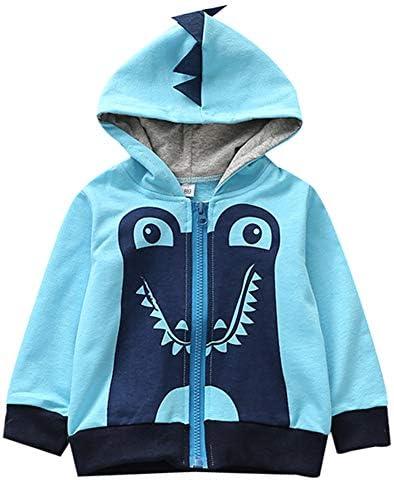 Anutknow Blue Cartoon Dinasour Pattern Women Fashion Pullover Hooded Sweatshirts Long-Sleeved Sweater