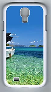 Samsung Galaxy S4 Case and Cover- Boat At Shore Beach PC Hard Case for Samsung Galaxy S4 / SIV/ I9500 White