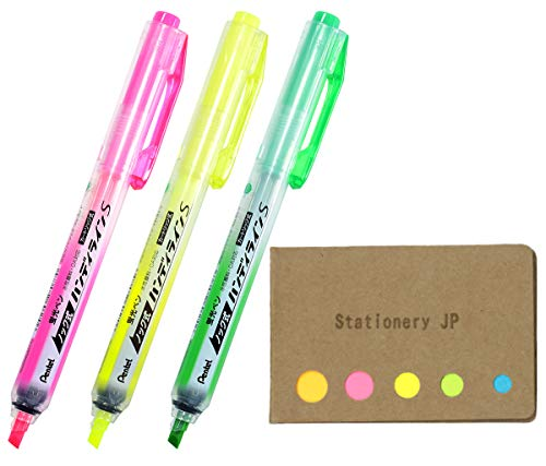 (Pentel Handy Line S Retractable Refillable Highlighter, 3 Colors Ink, Sticky Notes Value Set)