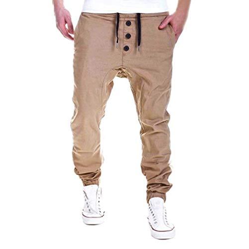 Kaki Ragazzo Coulisse Pantaloni Slim Uomo Da Lunghi Con Comodi Moda Casual Fit qSPF4fx