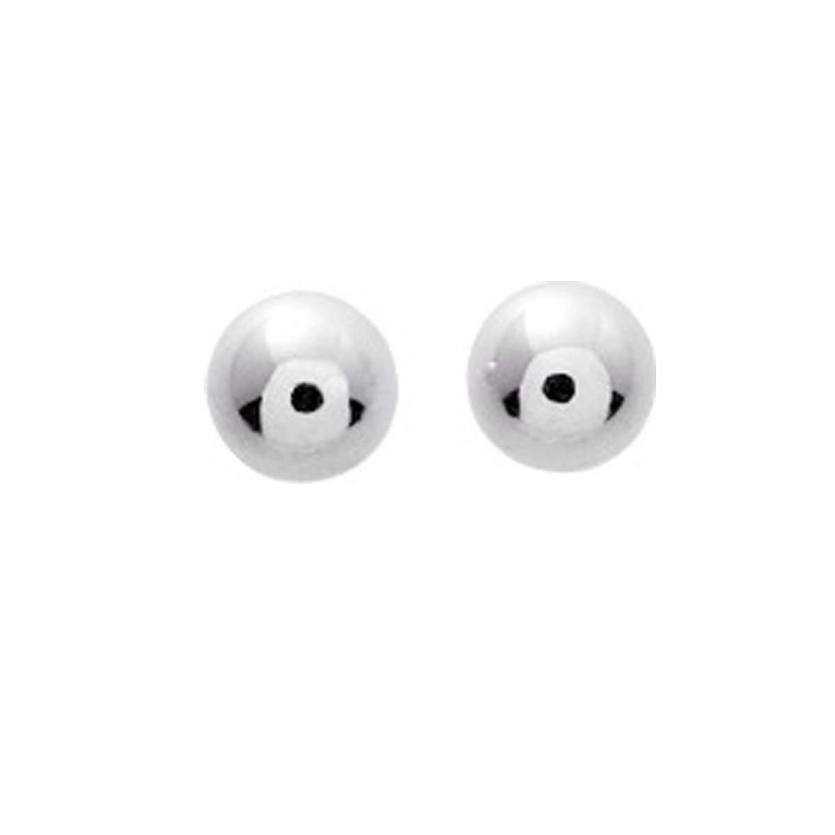 Ysora - Boucles D'oreilles En Or Gris En Forme De Boules - Or blanc - Ø 6 mm 17042