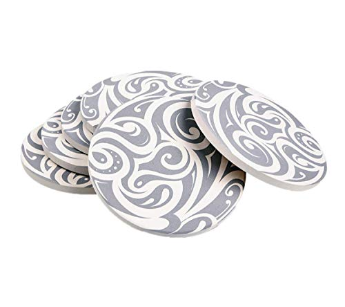 6 Pcs Coasters for Drinks QBOSO Absorbent Ceramic Stones Coaster Perfect Decor For Living Room Kitchen Or Office Unique Gift for Friends