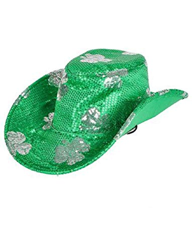 Saint Patrick's Day Green Shamrock Cowboy Cowgirl Cow Boy Hat Costume -