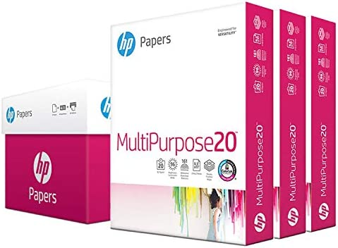 HP Printer Paper 8.5x11 MultiPurpose 20 lb 3 Ream Case 1500 Sheets 96 Bright Made in USA FSC Certified Copy Paper HP Compatible 112530C