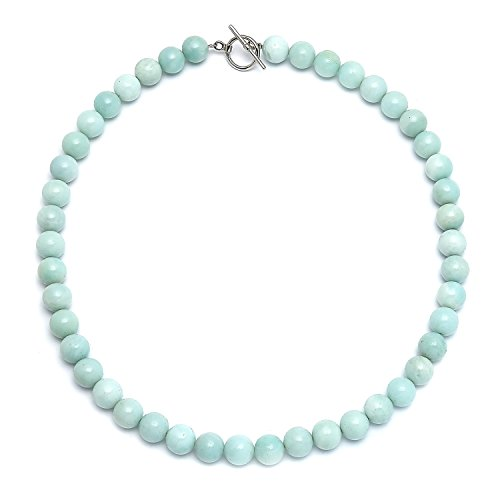 (Bling Jewelry Amazonite Light Aqua Blue Round Gem Stone 10MM Bead Strand Necklace for Women Silver Plated Clasp 18 Inch)