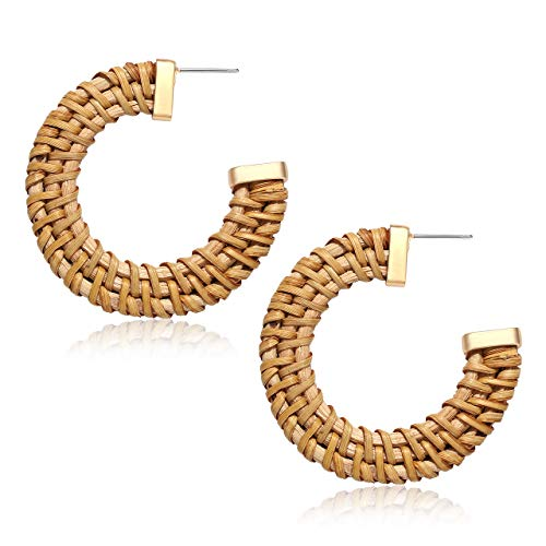 MOLOCH Rattan Earrings for Women Handmade Straw Wicker Braid Hoop Earrings Lightweight Geometric Statement Earrings Fashion Jewelry (Dark)