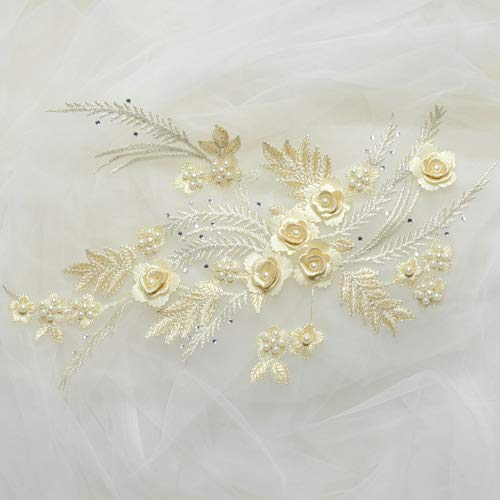 Laliva 4Pieces 16color 3D Wedding Dress Applique DIY Bridal Headdress Colors Lace Collar Lace Fabric Patch - (Color: Champagne)