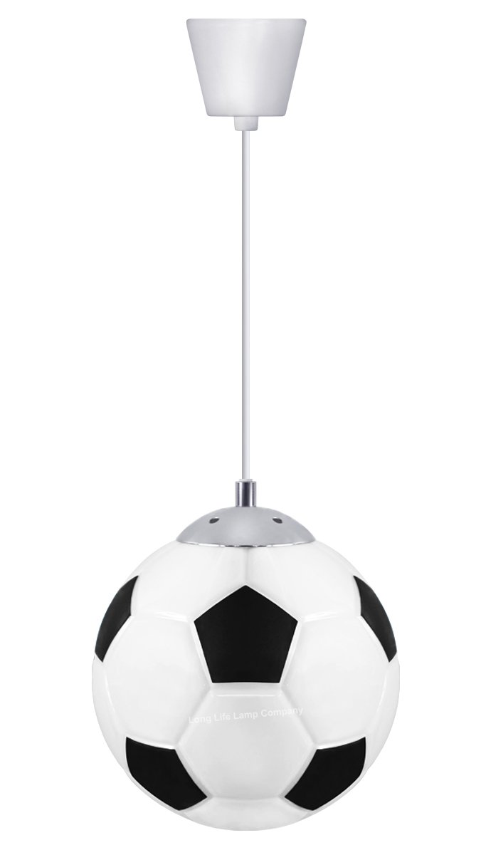 Novelty Football Ceiling Pendant Light Shade E27 Bulb Fitting Black and White M0055 Long Life Lamp Company