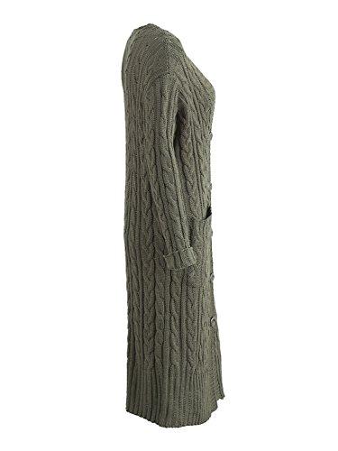 6c6c2cbb80de ... Simplee Apparel Damen Lang Strickjacke V-Ausschnitt Kabel Cardigan  Strickmantel mit Taschen Grün a8q8H ...
