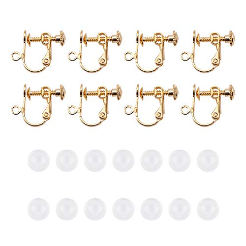 - PandaHall Elite 30 Pcs Brass Screw Back Clip-on Earring Converter Component with 30 Pcs Plastic Earring Pads for Non-Pierced Ears Golden