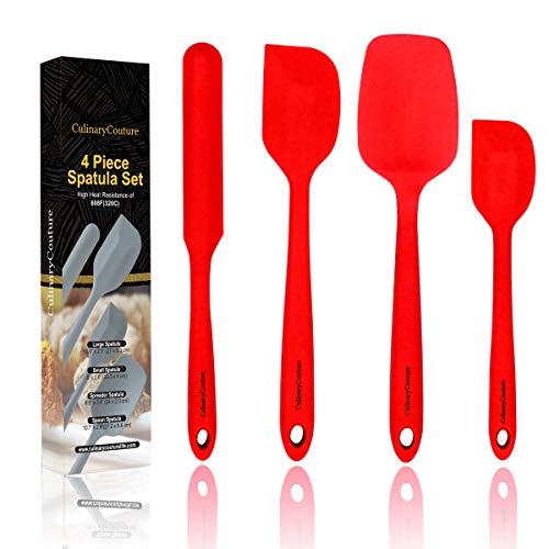 Red Silicone Spatula Set - Non Stick High Heat Resistant Kitchen Utensils - 608F - Sturdy Steel Core - Spreader, Scraper, Spoonula Spatulas - 4 Piece Utensil Set - Gift Box and Bonus Recipe Ebook