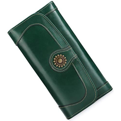 (Wallet for Women Vintage Long Purse Clutch Checkbook Handbag Organizer for Ladies)