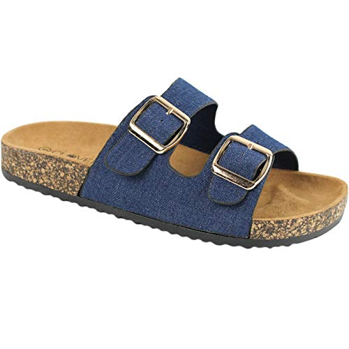 CLOVERLY Comfort Low Easy Slip On Sandal – Casual Cork Footbed Platform Sandal Flat – Trendy Open Toe Slide Sandal Shoes (6.5 M US, Dark Denim)