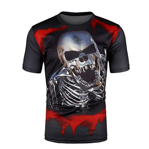 MmNote Save 15% Skull Print Polyester Casual Quick-Dry Men's Original Moisture Wicking Performance Elastic Shirt Black