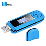 AGPTEK 16GB USB Stick Mp3 Player Supports Replaceable AAA Battery, Recording, FM Radio