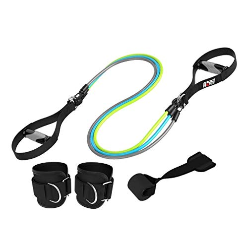 (QFITNESS Male and Female Ankle Pull Rope, Strength Training Resistance Latex Elastic Band, Latex Tube Foam Handle Security Door Anchor Belt Suitable for Strength Training Yoga, Pilates)