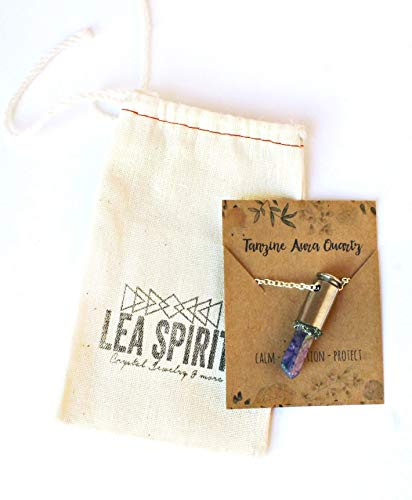 Blue Tanzine Aura Quartz Crystal Silver Plated Brass Bullet Necklace 24 Inch Length