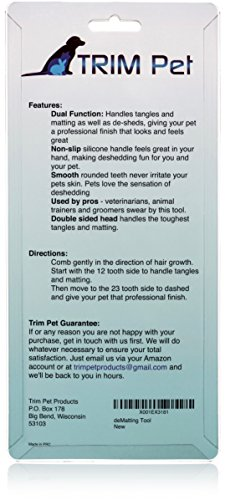 Dog Mat Remover Comb; Dematting Tool, Detangler & Deshedding Rake for Easy Undercoat Grooming; Large & Small Dogs, Puppy, Short & Longhaired Pets by Trim Pet (Image #3)