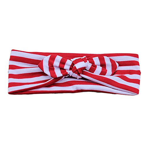 Removable Bunny - Pop Your Dream Women Fashion Elastic Headband Removable Bunny Ears Bow Strip Hairband Hair Decor Accessory (Stripe Red)