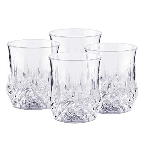 [Four Sets] Water Activated LED Light Cup, Automatic Flash Wave By Pouring Liquid In, With Blinking Octagonal Marble Texture. Beer Whisky Shot Glass Mug, Bar Club Night Party Drink Ware - 7 oz -