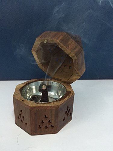 Wooden Incense Holders From India Temple Wooden Charcoal/Cone Burner, 5'' H