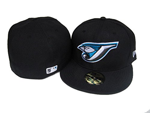 New Era 59Fifty Hat MLB Toronto Blue Jays Black Team Fitted Cap (7 3/8)