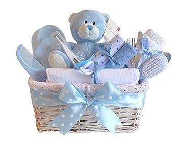 6750503ca92b Amazon.com   Angel DELUXE White Wicker Baby Boy Gift Basket   Baby ...