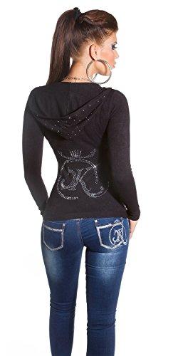 KouCla Kapuzen Pullover Feinstrick Pulli Hoodie Sweater Strass Einheitsgröße 34-38 (Schwarz)