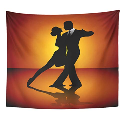 Semtomn Tapestry Dance Black Ballroom Man and Woman Dancing Tango Dancer Home Decor Wall Hanging for Living Room Bedroom Dorm 50x60 Inches